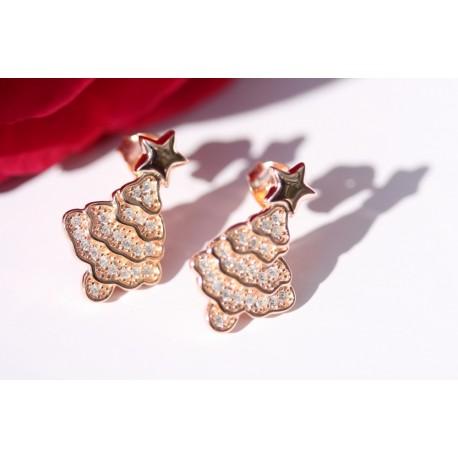 Zilveren oorbellen in de vorm van een kerstboom (rose-goud kleur)
